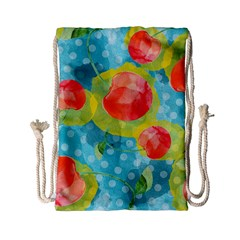 Red Cherries Drawstring Bag (small) by DanaeStudio