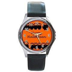 Happy Halloween   Owls Round Metal Watch by Valentinaart