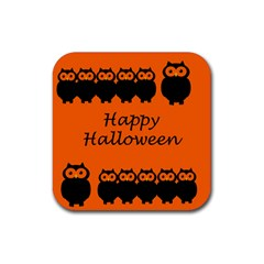Happy Halloween   Owls Rubber Coaster (square)  by Valentinaart