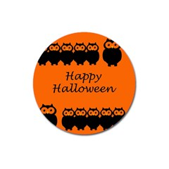 Happy Halloween   Owls Magnet 3  (round) by Valentinaart