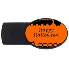 Happy Halloween   Owls Usb Flash Drive Oval (4 Gb)  by Valentinaart