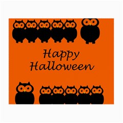 Happy Halloween   Owls Small Glasses Cloth (2 Side) by Valentinaart