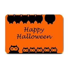 Happy Halloween   Owls Small Doormat  by Valentinaart