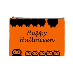 Happy Halloween   Owls Cosmetic Bag (large)  by Valentinaart