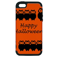 Happy Halloween   Owls Apple Iphone 5 Hardshell Case (pc+silicone) by Valentinaart