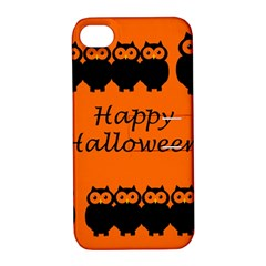 Happy Halloween   Owls Apple Iphone 4/4s Hardshell Case With Stand by Valentinaart