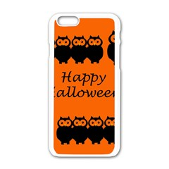 Happy Halloween   Owls Apple Iphone 6/6s White Enamel Case by Valentinaart