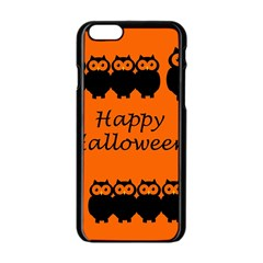 Happy Halloween   Owls Apple Iphone 6/6s Black Enamel Case by Valentinaart