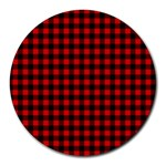 Lumberjack Plaid Fabric Pattern Red Black Round Mousepads Front