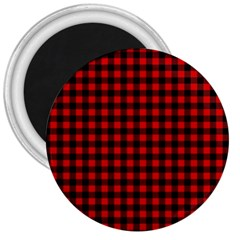 Lumberjack Plaid Fabric Pattern Red Black 3  Magnets by EDDArt