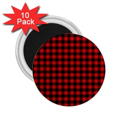 Lumberjack Plaid Fabric Pattern Red Black 2 25  Magnets (10 Pack)  by EDDArt