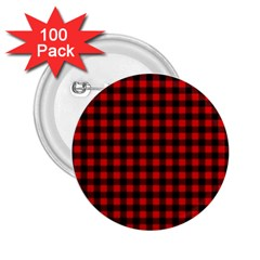 Lumberjack Plaid Fabric Pattern Red Black 2.25  Buttons (100 pack)