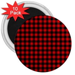 Lumberjack Plaid Fabric Pattern Red Black 3  Magnets (10 pack)