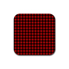 Lumberjack Plaid Fabric Pattern Red Black Rubber Coaster (square)  by EDDArt