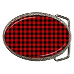 Lumberjack Plaid Fabric Pattern Red Black Belt Buckles Front