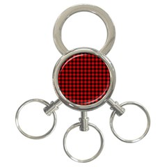 Lumberjack Plaid Fabric Pattern Red Black 3 Ring Key Chains by EDDArt