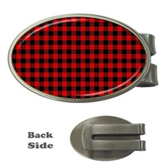Lumberjack Plaid Fabric Pattern Red Black Money Clips (Oval)