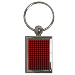 Lumberjack Plaid Fabric Pattern Red Black Key Chains (Rectangle)