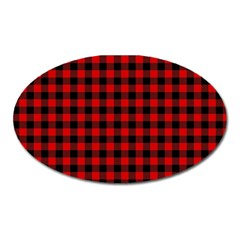 Lumberjack Plaid Fabric Pattern Red Black Oval Magnet by EDDArt