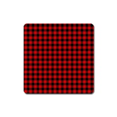 Lumberjack Plaid Fabric Pattern Red Black Square Magnet by EDDArt