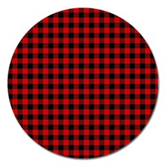 Lumberjack Plaid Fabric Pattern Red Black Magnet 5  (round) by EDDArt