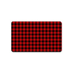 Lumberjack Plaid Fabric Pattern Red Black Magnet (name Card) by EDDArt