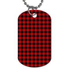 Lumberjack Plaid Fabric Pattern Red Black Dog Tag (One Side)