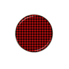 Lumberjack Plaid Fabric Pattern Red Black Hat Clip Ball Marker (4 pack)