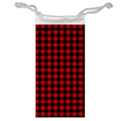 Lumberjack Plaid Fabric Pattern Red Black Jewelry Bags by EDDArt