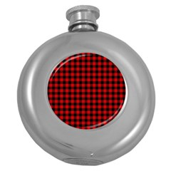 Lumberjack Plaid Fabric Pattern Red Black Round Hip Flask (5 Oz) by EDDArt