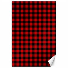Lumberjack Plaid Fabric Pattern Red Black Canvas 24  X 36  by EDDArt
