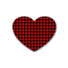 Lumberjack Plaid Fabric Pattern Red Black Rubber Coaster (Heart)