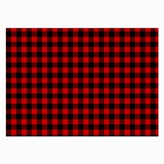 Lumberjack Plaid Fabric Pattern Red Black Large Glasses Cloth (2-Side)