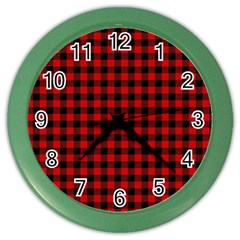 Lumberjack Plaid Fabric Pattern Red Black Color Wall Clocks by EDDArt