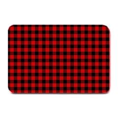 Lumberjack Plaid Fabric Pattern Red Black Plate Mats by EDDArt