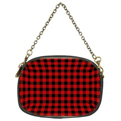 Lumberjack Plaid Fabric Pattern Red Black Chain Purses (Two Sides)
