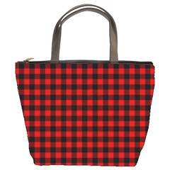 Lumberjack Plaid Fabric Pattern Red Black Bucket Bags by EDDArt