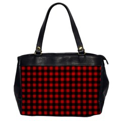 Lumberjack Plaid Fabric Pattern Red Black Office Handbags by EDDArt