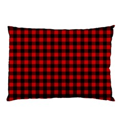 Lumberjack Plaid Fabric Pattern Red Black Pillow Case (Two Sides)