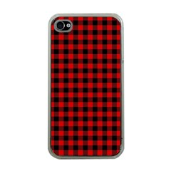 Lumberjack Plaid Fabric Pattern Red Black Apple iPhone 4 Case (Clear)