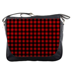 Lumberjack Plaid Fabric Pattern Red Black Messenger Bags by EDDArt