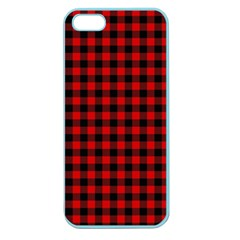 Lumberjack Plaid Fabric Pattern Red Black Apple Seamless iPhone 5 Case (Color)