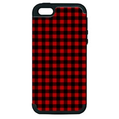 Lumberjack Plaid Fabric Pattern Red Black Apple Iphone 5 Hardshell Case (pc+silicone) by EDDArt