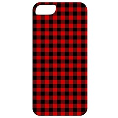 Lumberjack Plaid Fabric Pattern Red Black Apple Iphone 5 Classic Hardshell Case by EDDArt