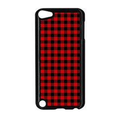 Lumberjack Plaid Fabric Pattern Red Black Apple iPod Touch 5 Case (Black)