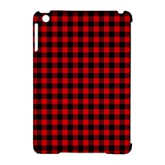 Lumberjack Plaid Fabric Pattern Red Black Apple iPad Mini Hardshell Case (Compatible with Smart Cover)