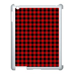 Lumberjack Plaid Fabric Pattern Red Black Apple Ipad 3/4 Case (white) by EDDArt