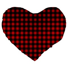 Lumberjack Plaid Fabric Pattern Red Black Large 19  Premium Heart Shape Cushions by EDDArt