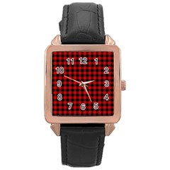 Lumberjack Plaid Fabric Pattern Red Black Rose Gold Leather Watch
