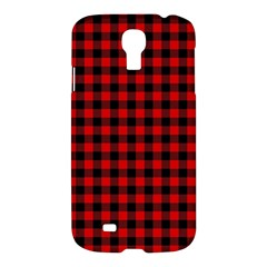 Lumberjack Plaid Fabric Pattern Red Black Samsung Galaxy S4 I9500/i9505 Hardshell Case by EDDArt
